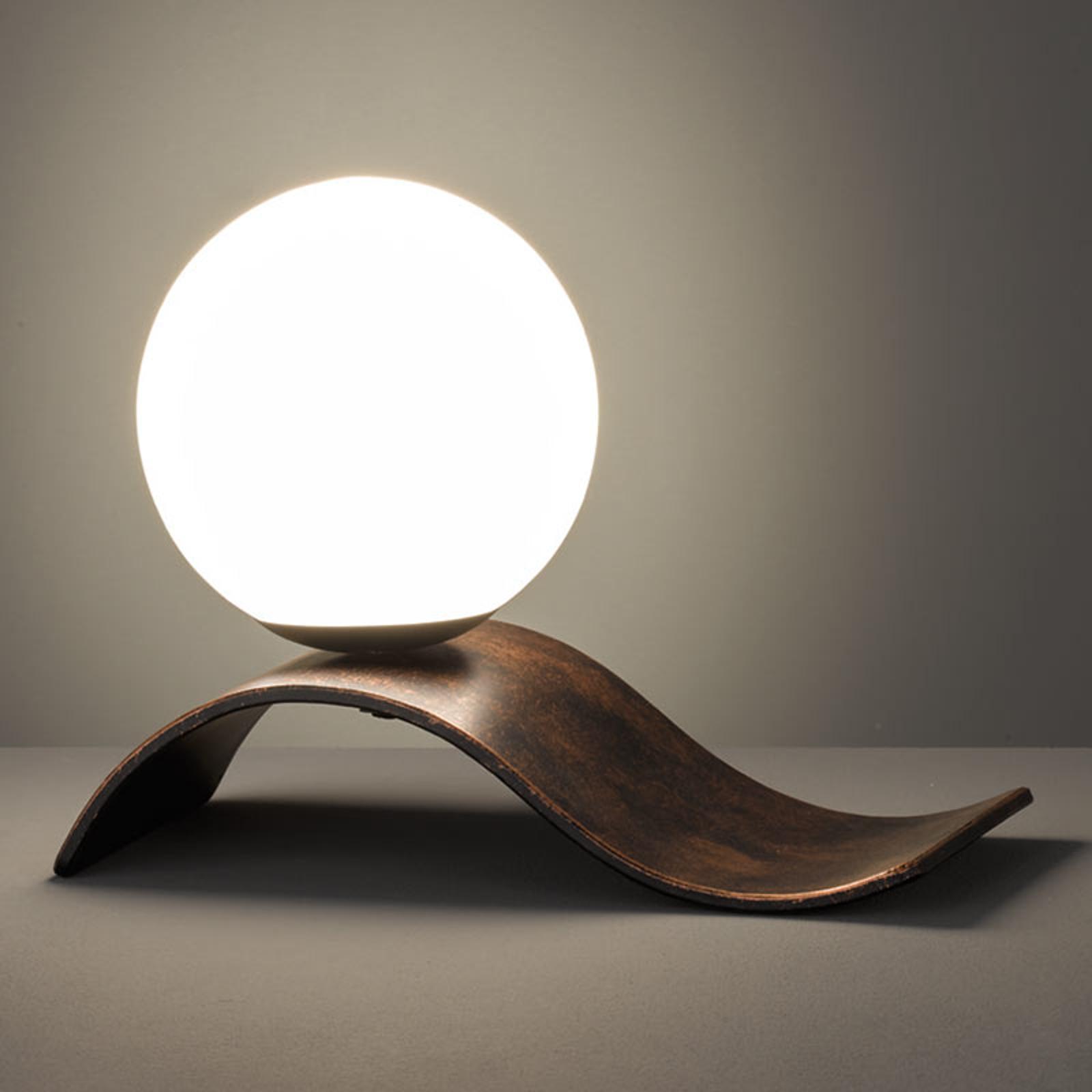 Glazen tafellamp Lara, koper antiek