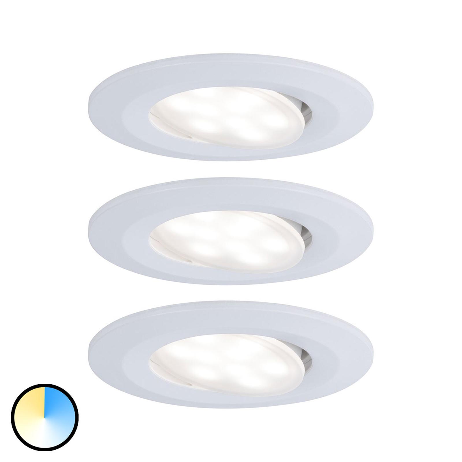 Paulmann 3 spots LED Calla blanc, couleur change