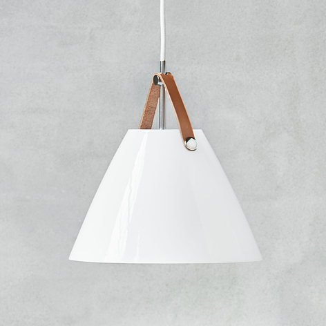 Suspension LED en verre Strap 27 avec bride cuir
