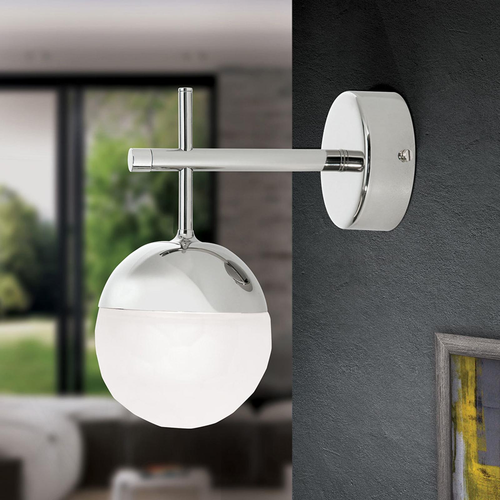 LED-Wandleuchte Ball, einflammig, nickel, abwärts kaufen