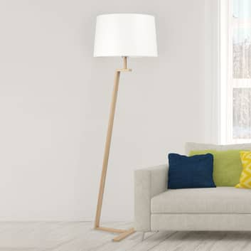Stojací lampa Memphis LS, textilní stínidlo, bílá