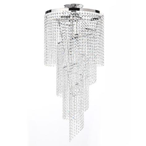 Plafón Elica con espiral de cristal, Ø 35cm