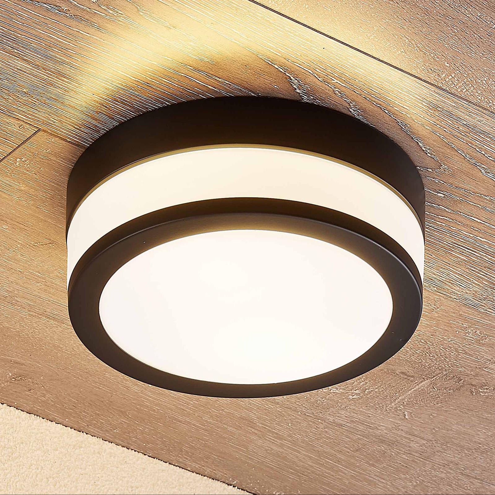 Lindby Flavi Bad-Deckenlampe, Ø 23 cm, schwarz