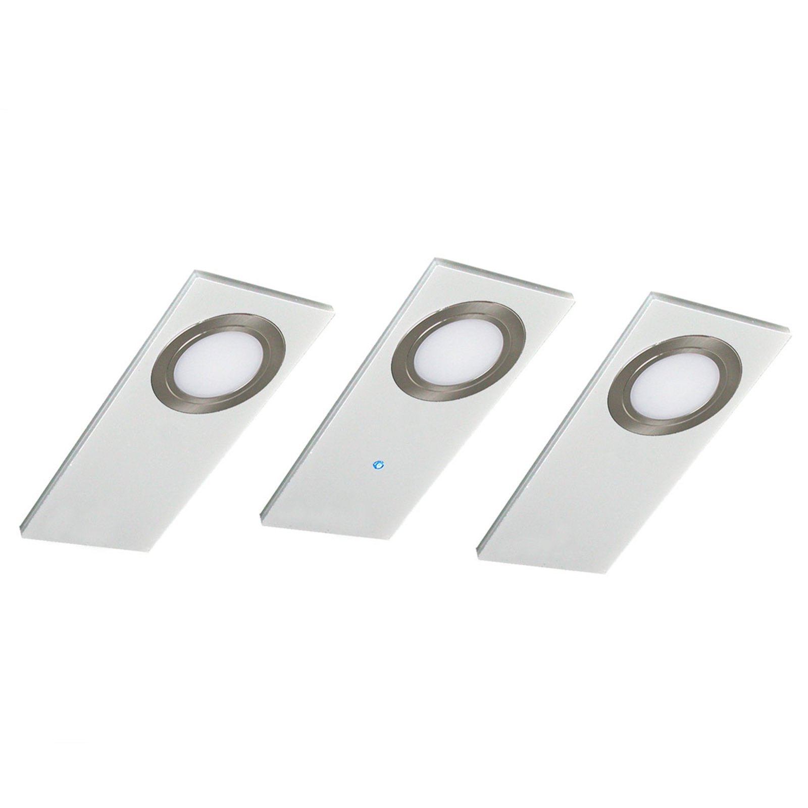 Flat LED-benkbelysning i 3er set, hvit
