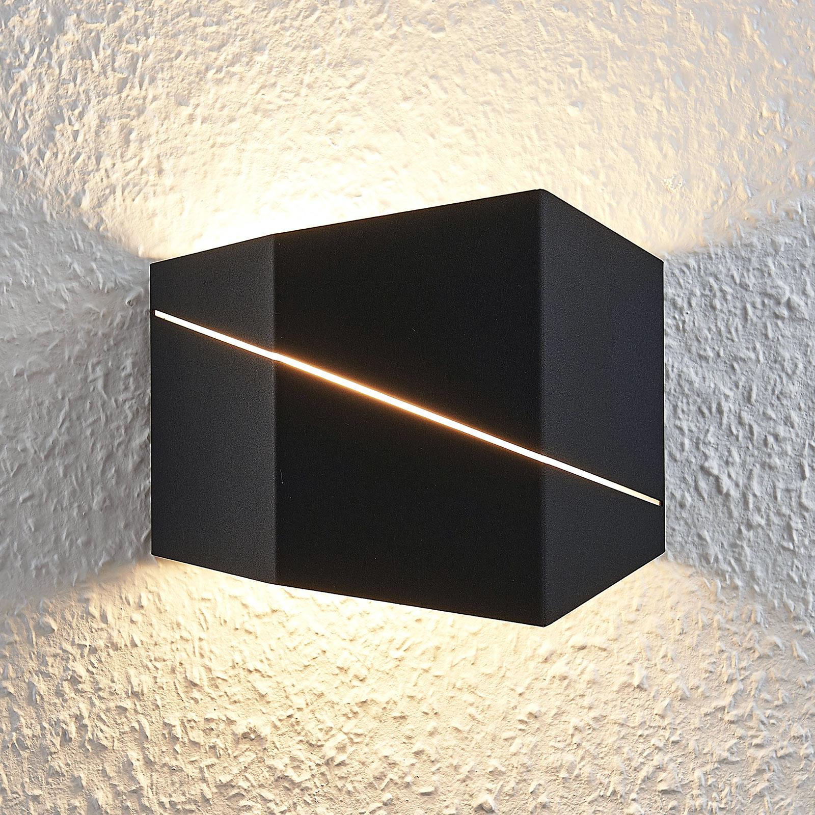 LED wandlamp Nicolae, 18 cm, zwart