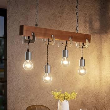 Lindby Asya závěsné světlo, 4žárovkové dřevo chrom