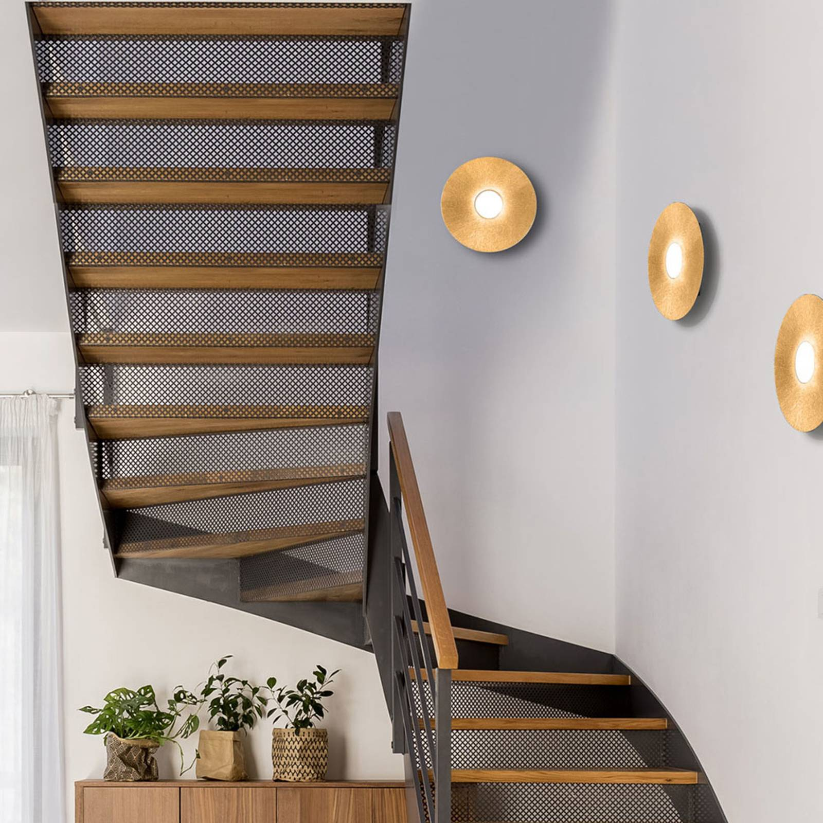 LED-Wandleuchte Circle Sun, gold, einflammig