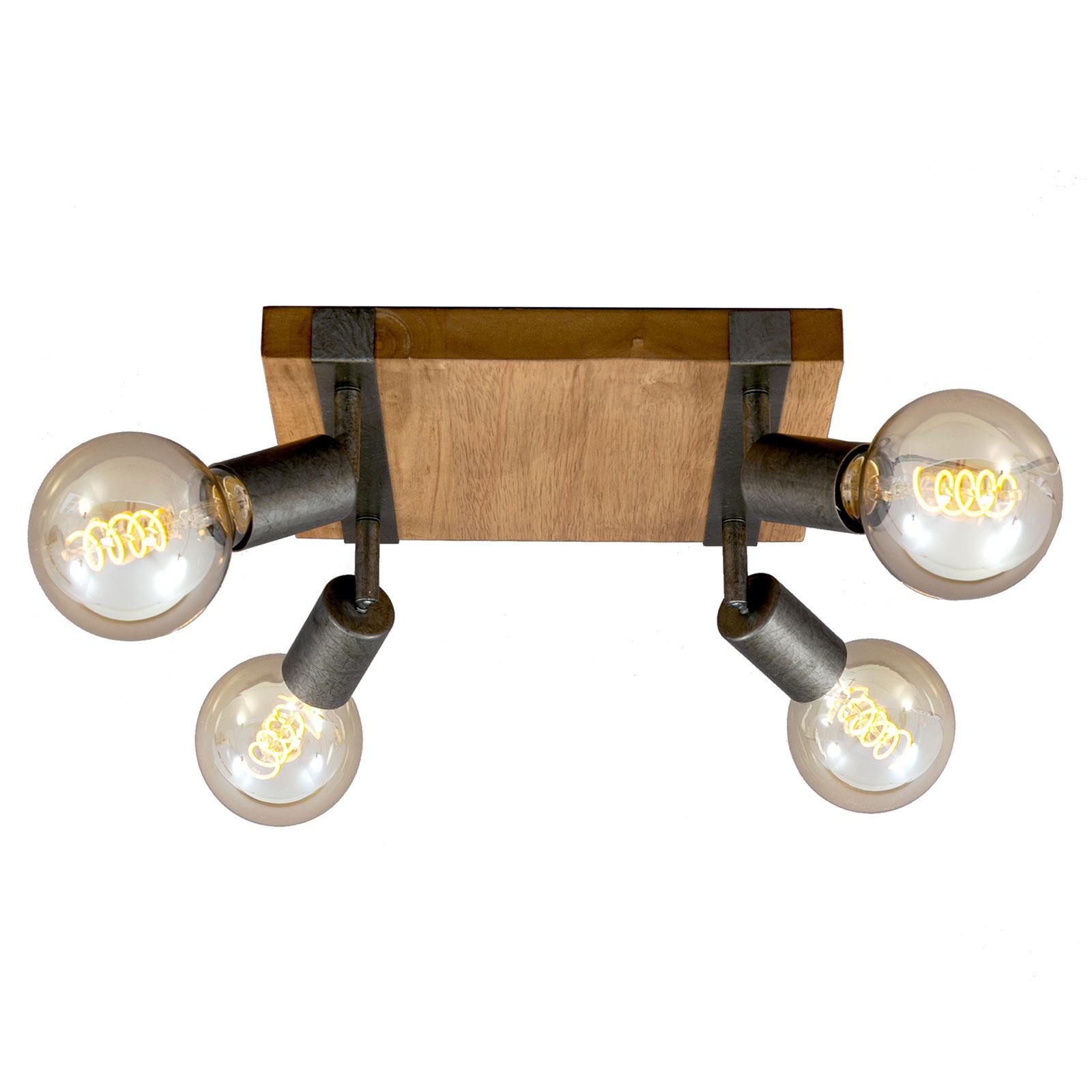 Deckenlampe Wood Basic, vierflammig