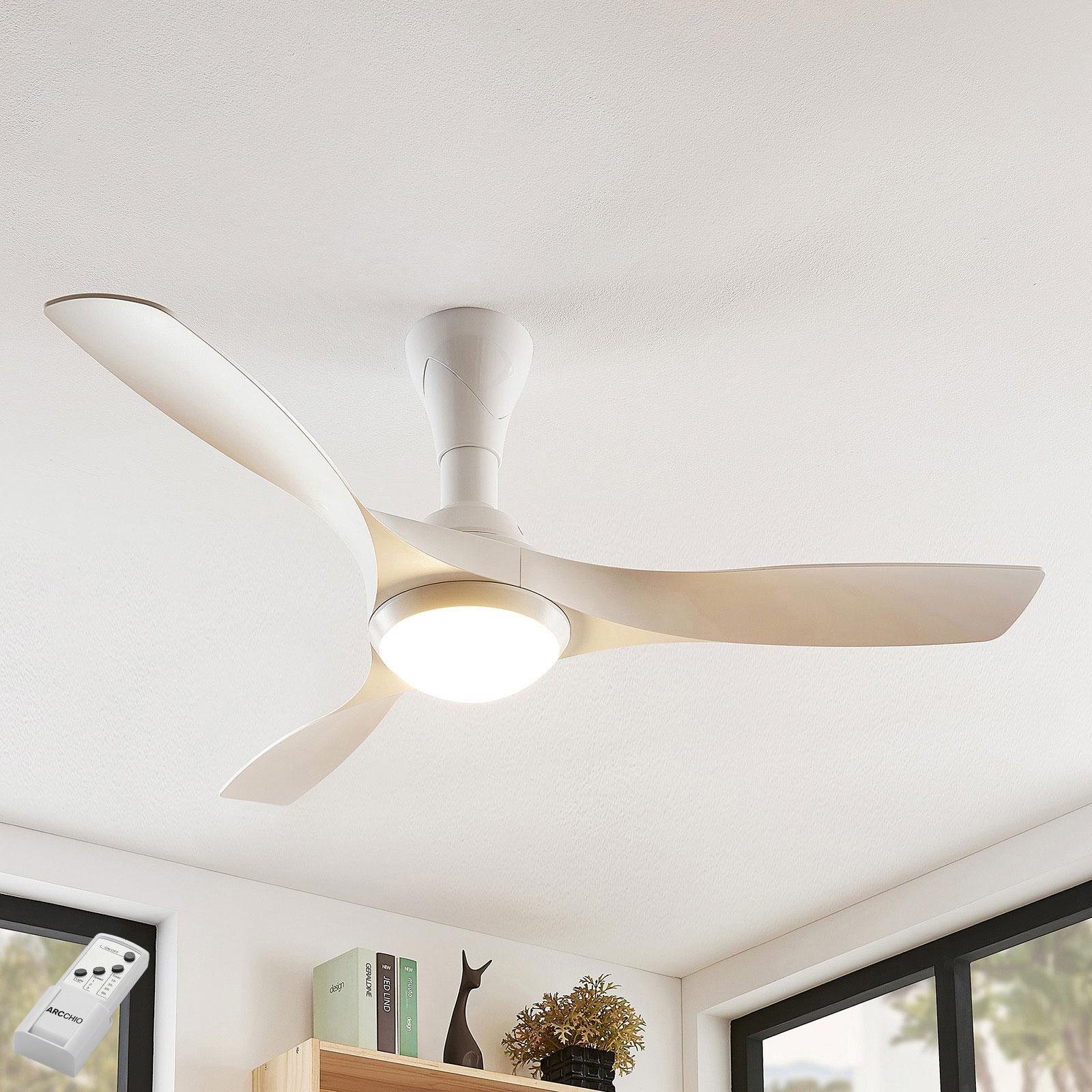 Arcchio Borga wentylator LED, 3 łopatki, biały