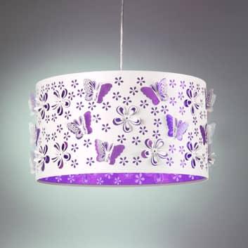 Závěsné světlo Titilla, bílá stínidlo vnitřní lila