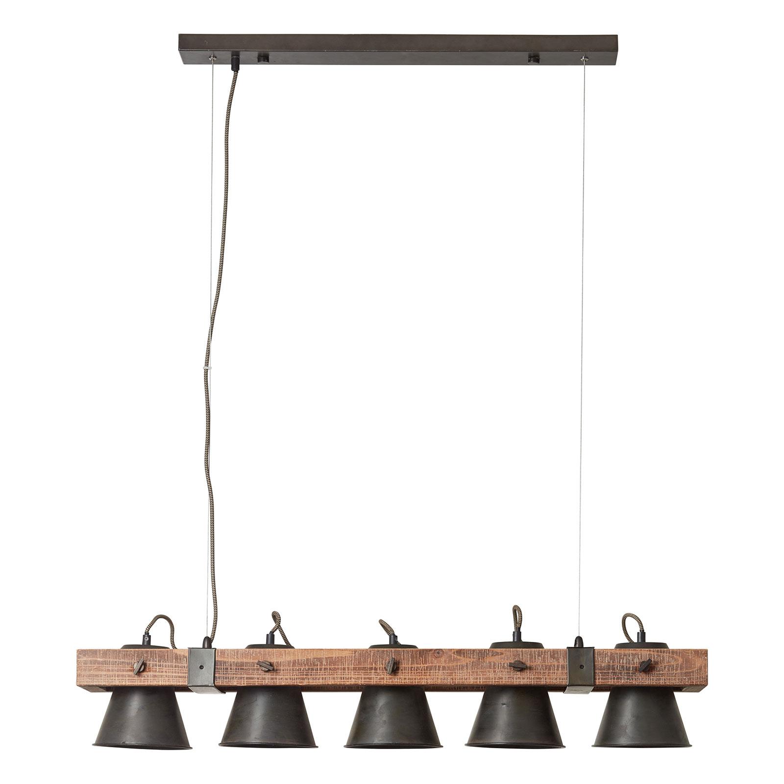 Suspension Plow à 5 lampes, noire/bois foncé