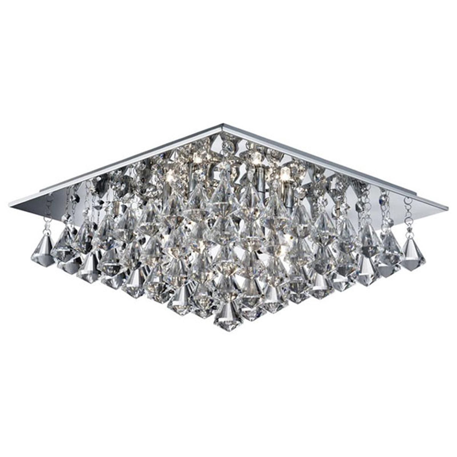 Taklampa Hanna med kristallprisman, 44 x 44 cm