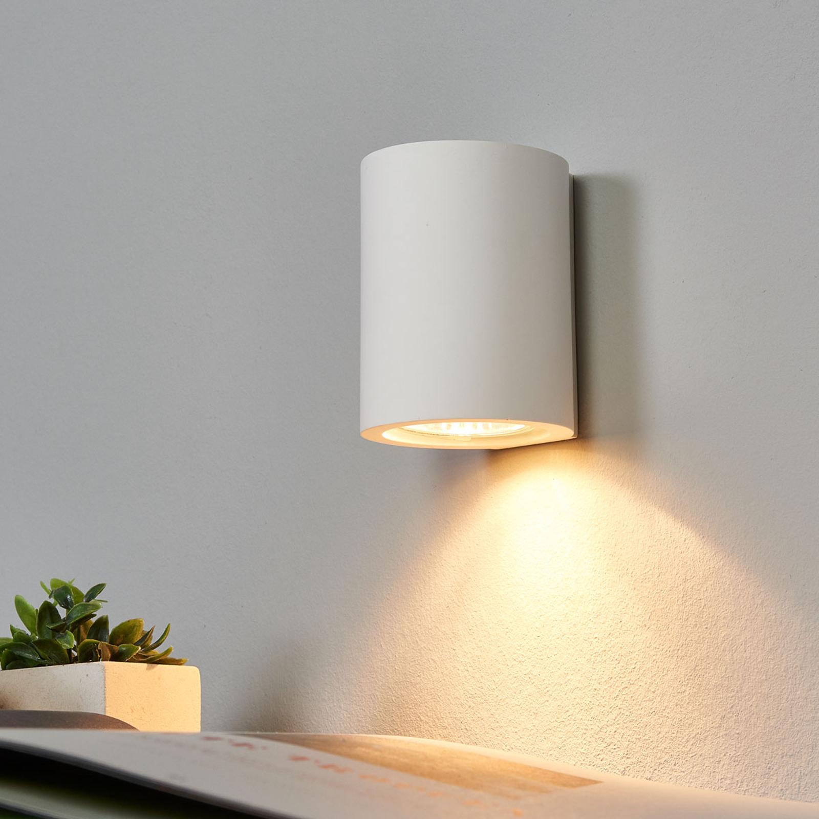 Witte GU10 wandlamp Miroslaw uit gips
