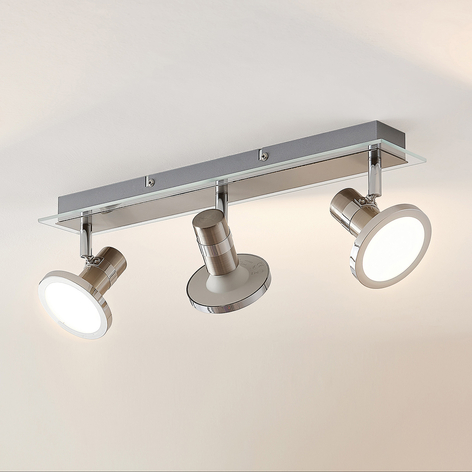 Lindby Kajetan LED-lyskaster, nikkel, 3 lyskilder