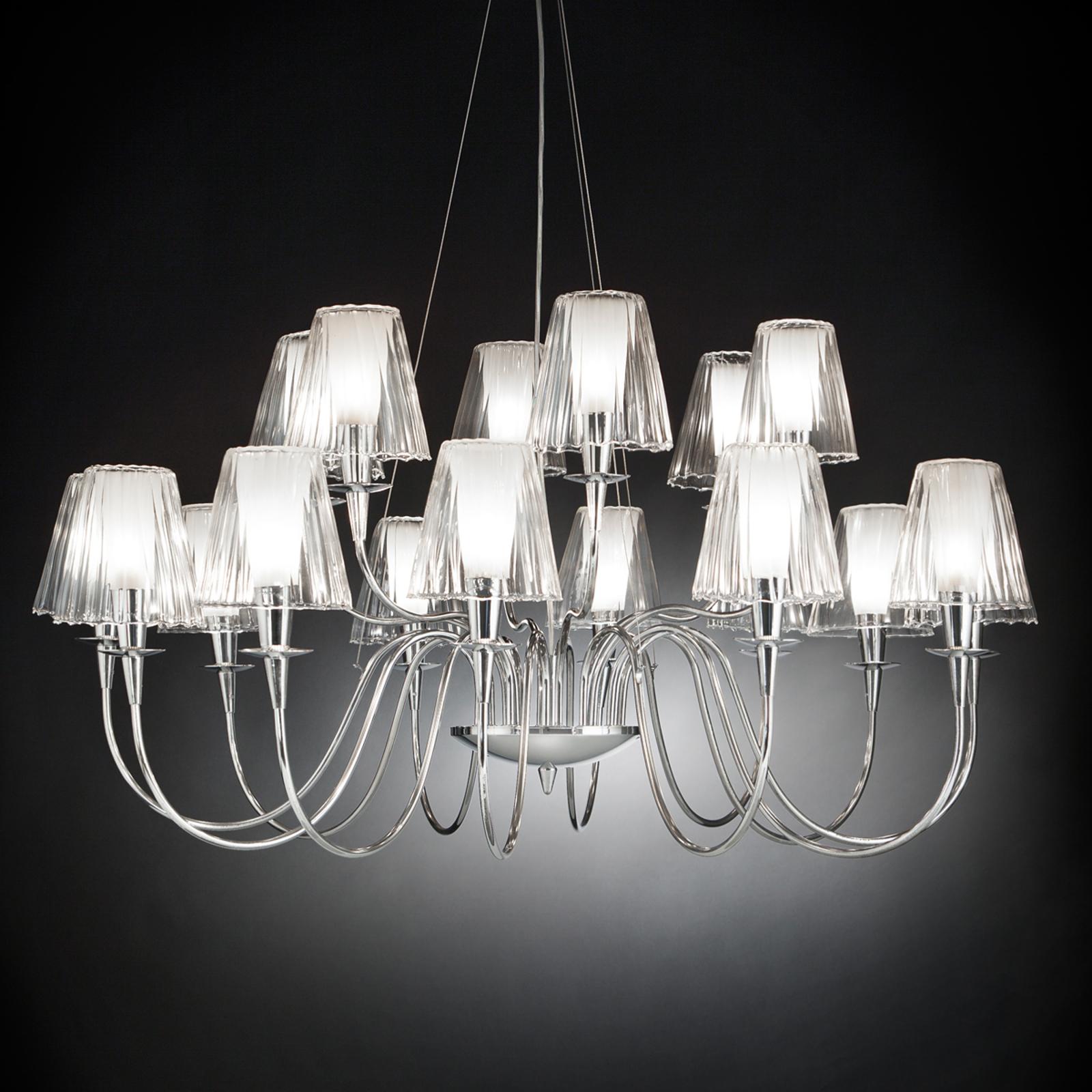 18-lamps kroonluchter Opera met glazen kappen