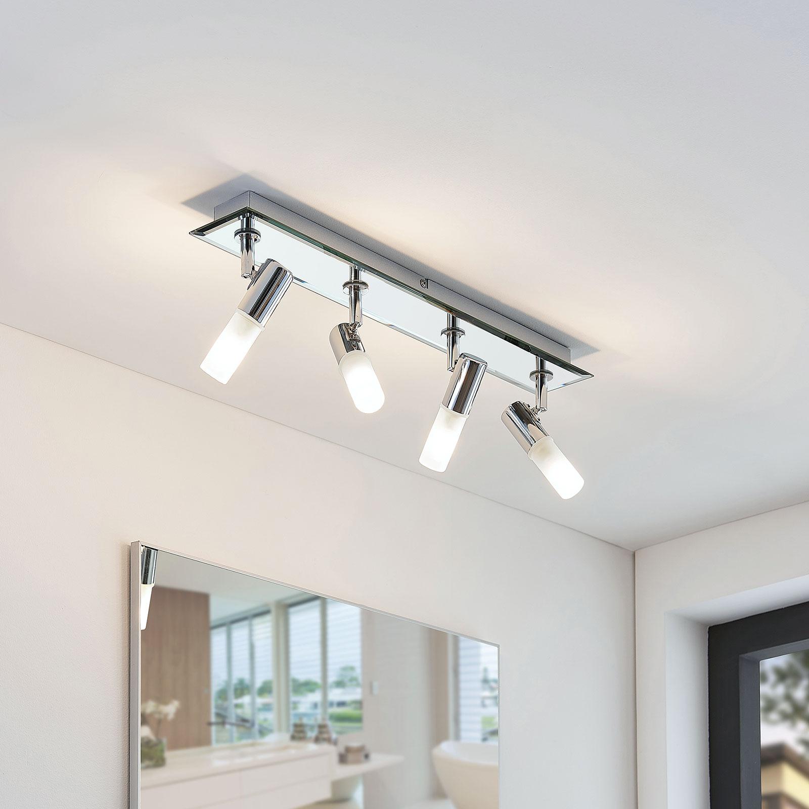 Lámpara de techo para baño Zela, 4 brazos, 53 cm