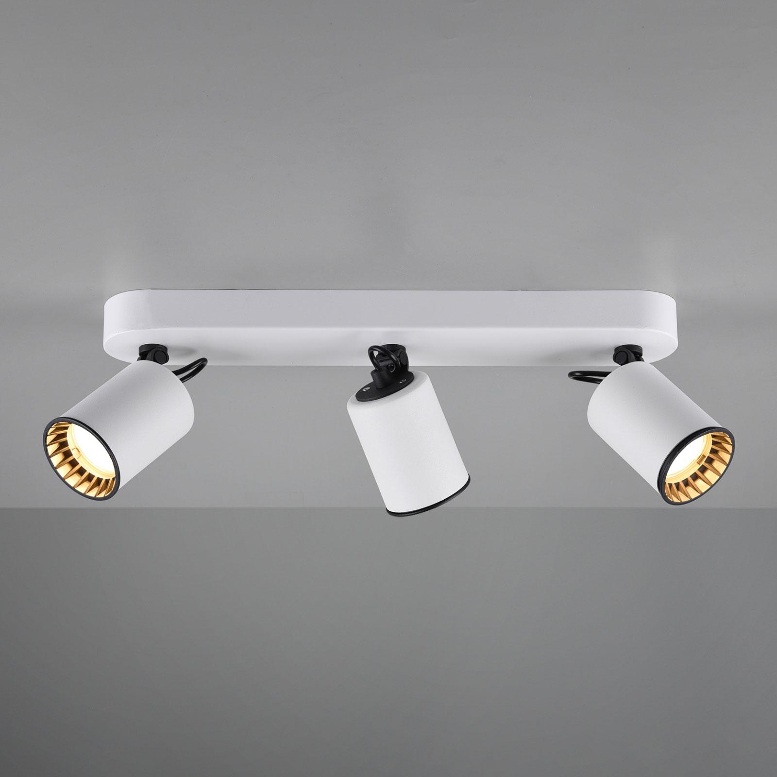 Stropní reflektor Pago, tři žárovky, bílý