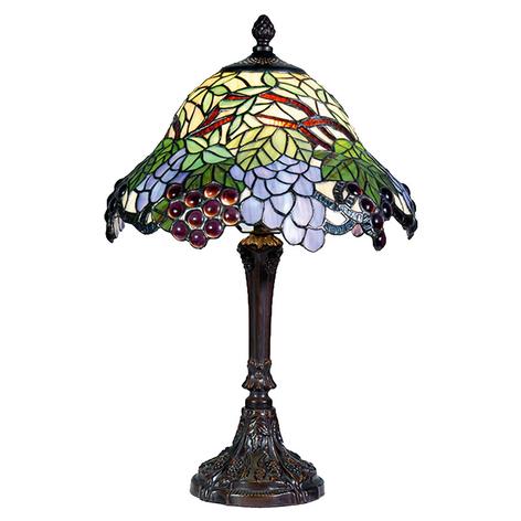 Colorida lámpara de mesa Lotta en estilo Tiffany