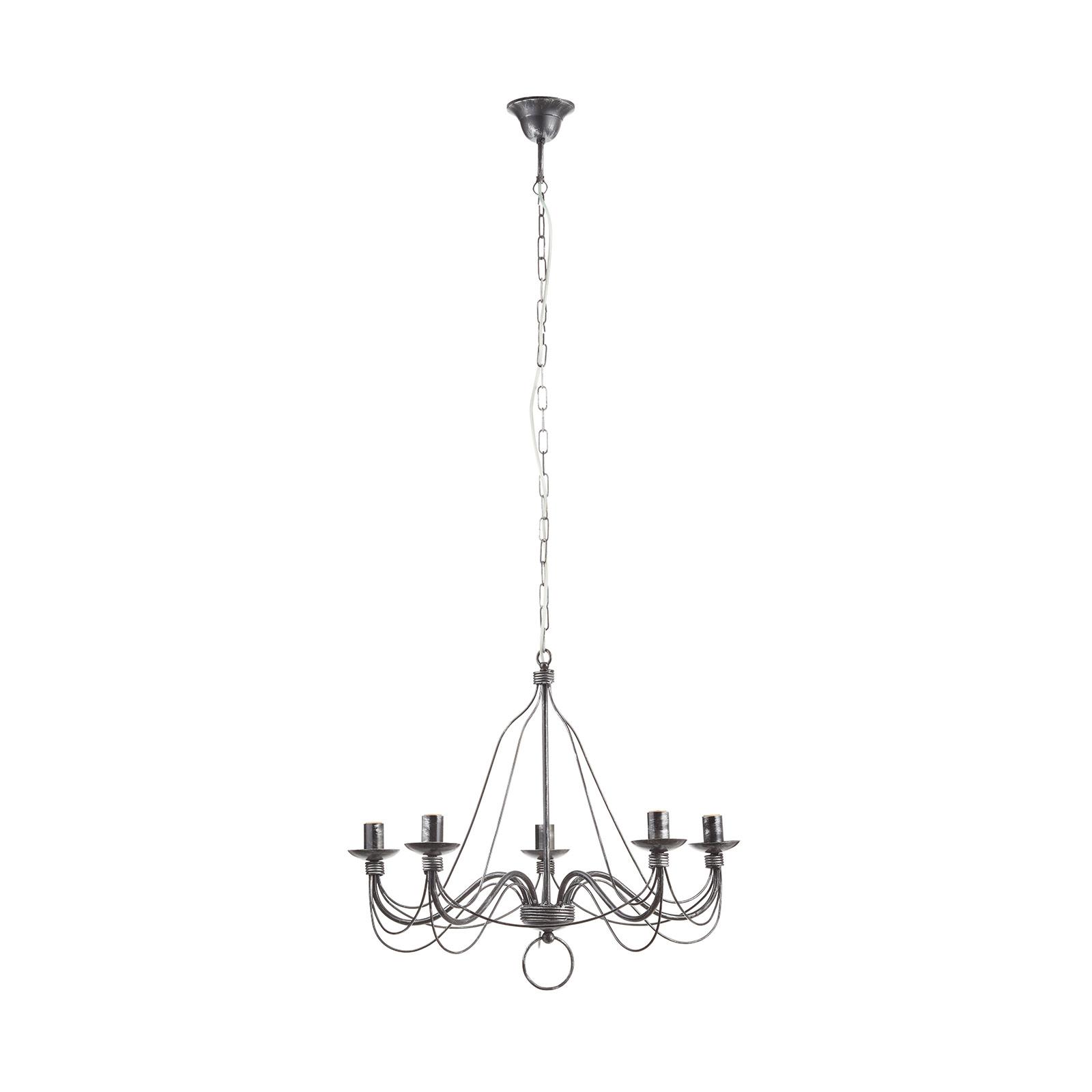 Ljuskrona 007/5 L, 5 lampor, svart-silver