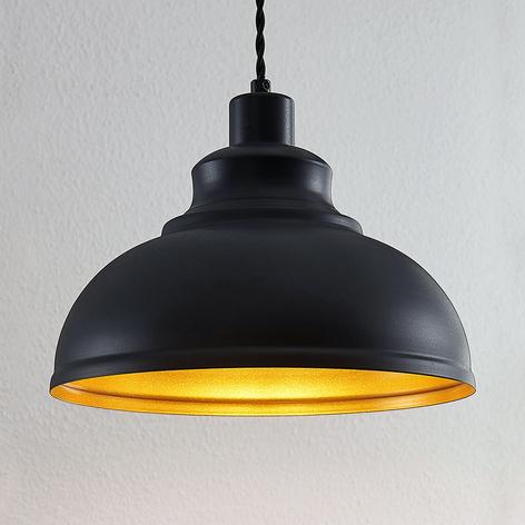Vintage hanglamp Albertine, metaal, zwart