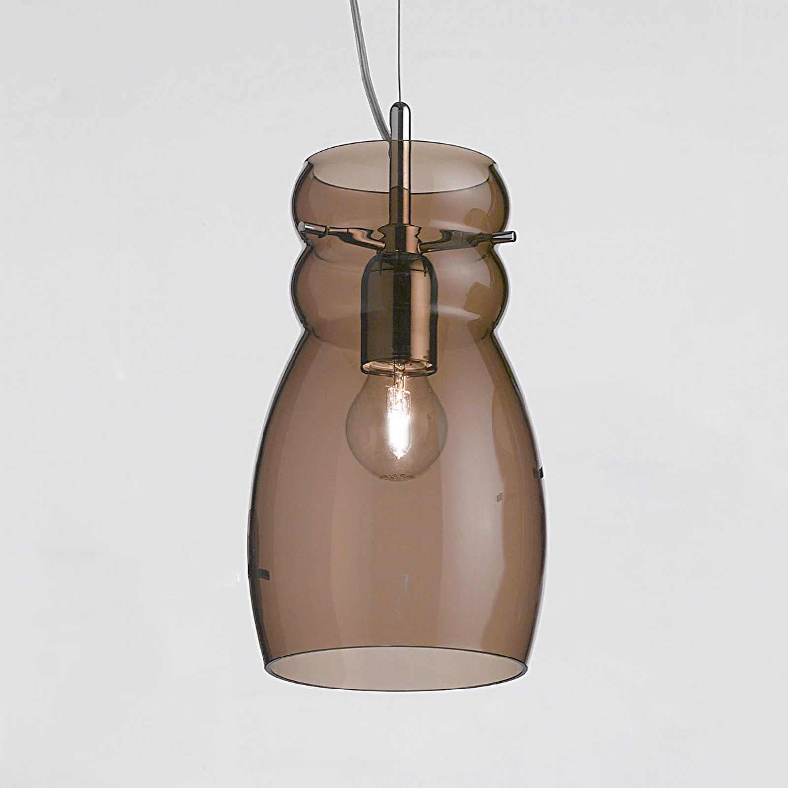 Suspension Giove en verre 16 cm brune