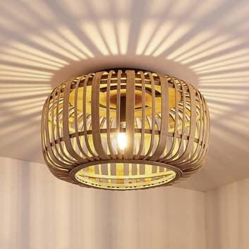 Lindby Canyana plafondlamp van rotan, natuur