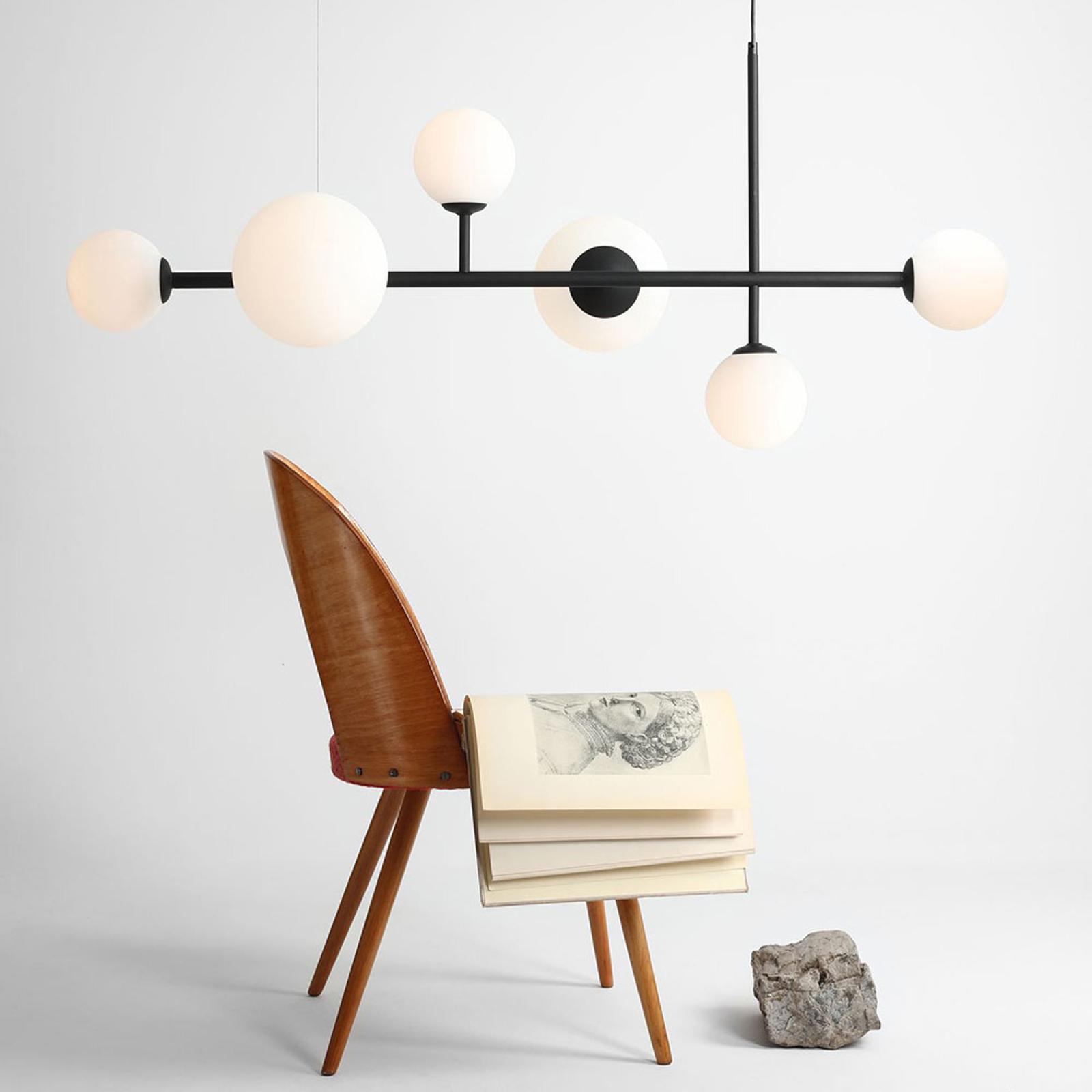 Lámpara colgante Dione, 6 luces, negra