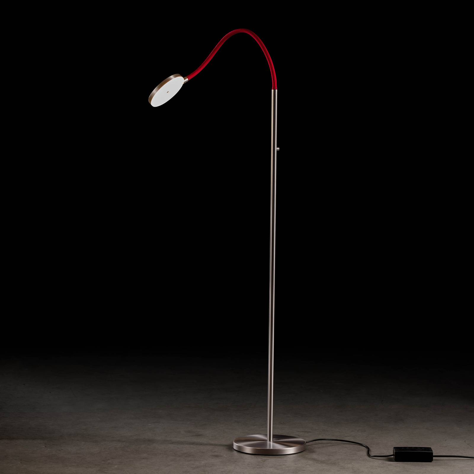 Holtkötter Flex S LED vloerlamp mat alu/rood