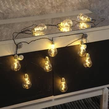 Catena luminosa LED Glow, vetro, bianco