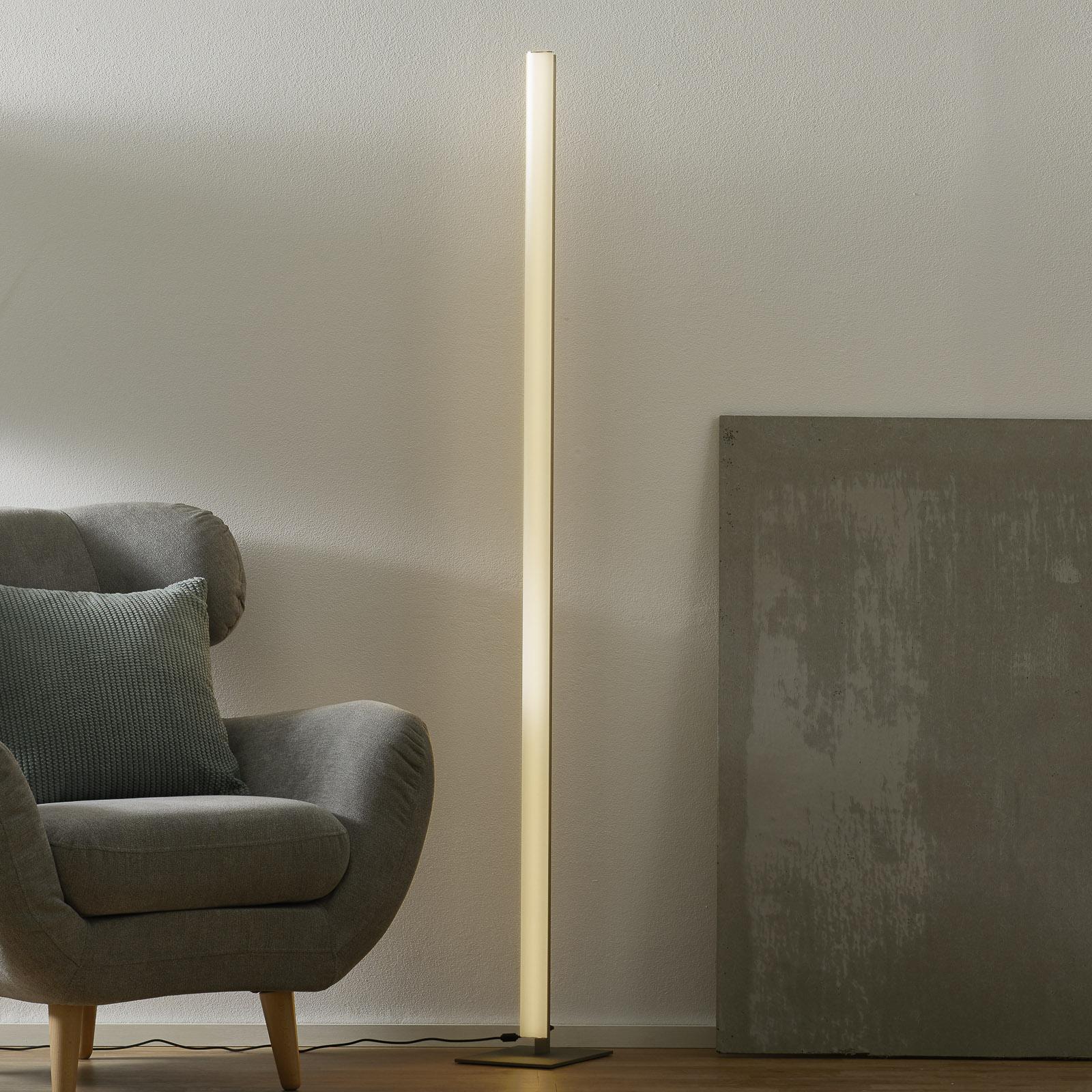 Smukła lampa stojąca LED VENTA, nikiel matowy