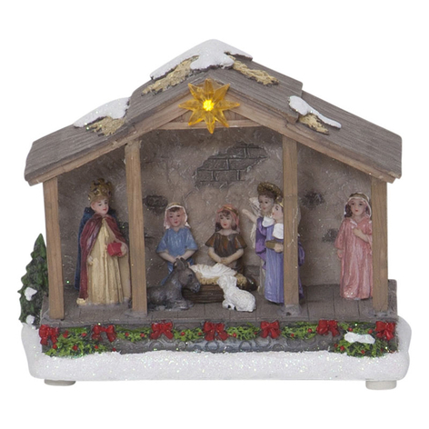 LED-dekolys Nativity, batteridrevet, 19 cm