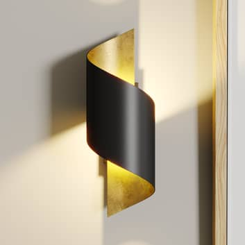 Metalen LED wandlamp Desirio, zwart-goud