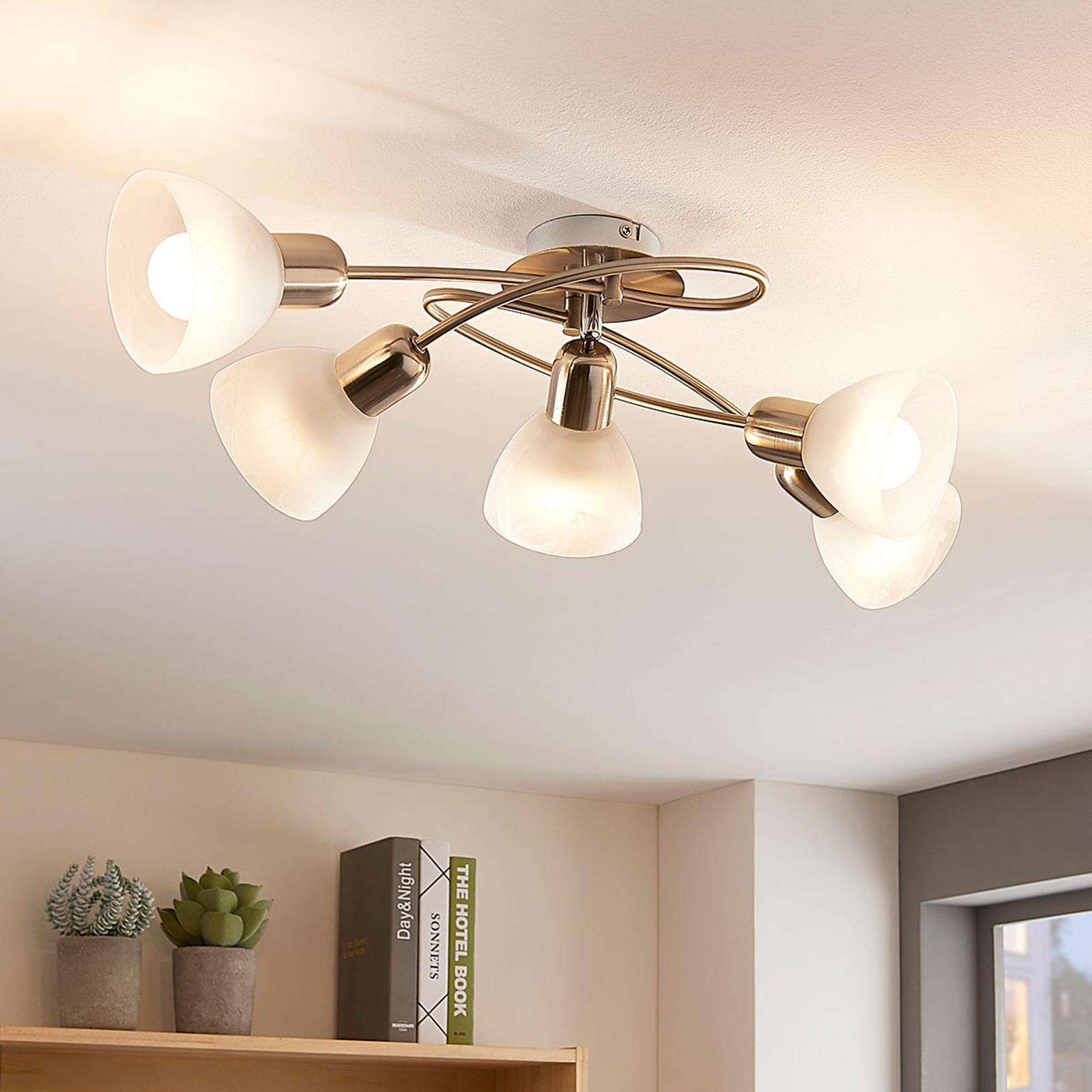 Viisilamppuinen LED-kattolamppu Paulina olohuone