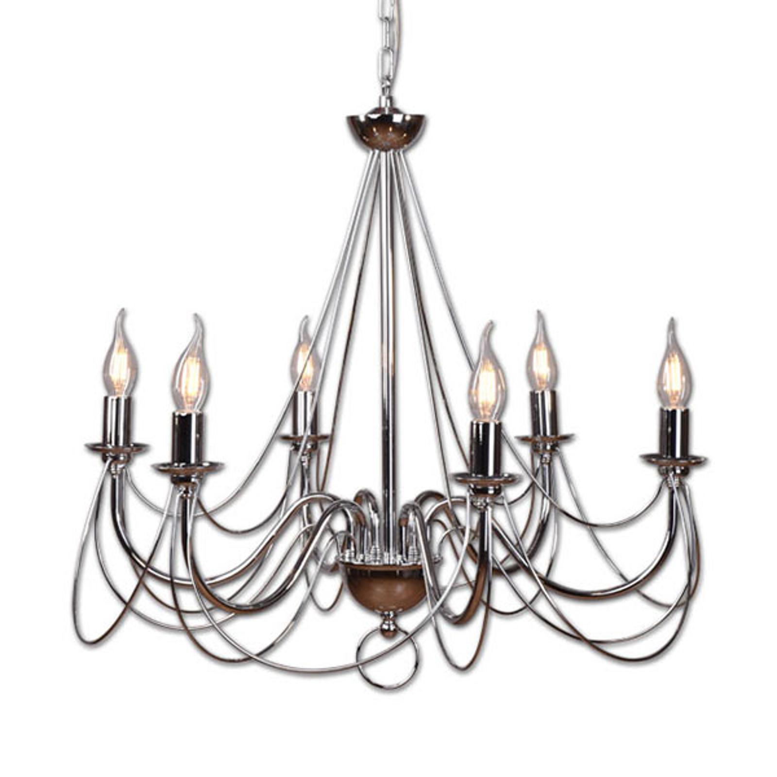 Ljuskrona Retro i silver, 6 lampor, upphäng 120 cm