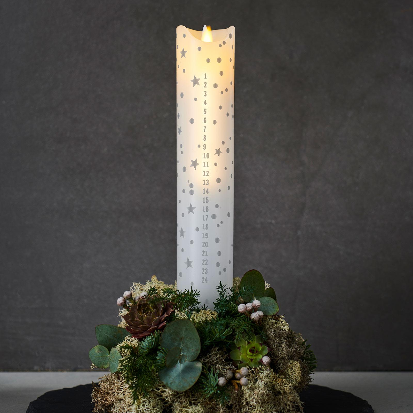 LED-kynttilä Sara Calendar,valk./romant.,kork.29cm