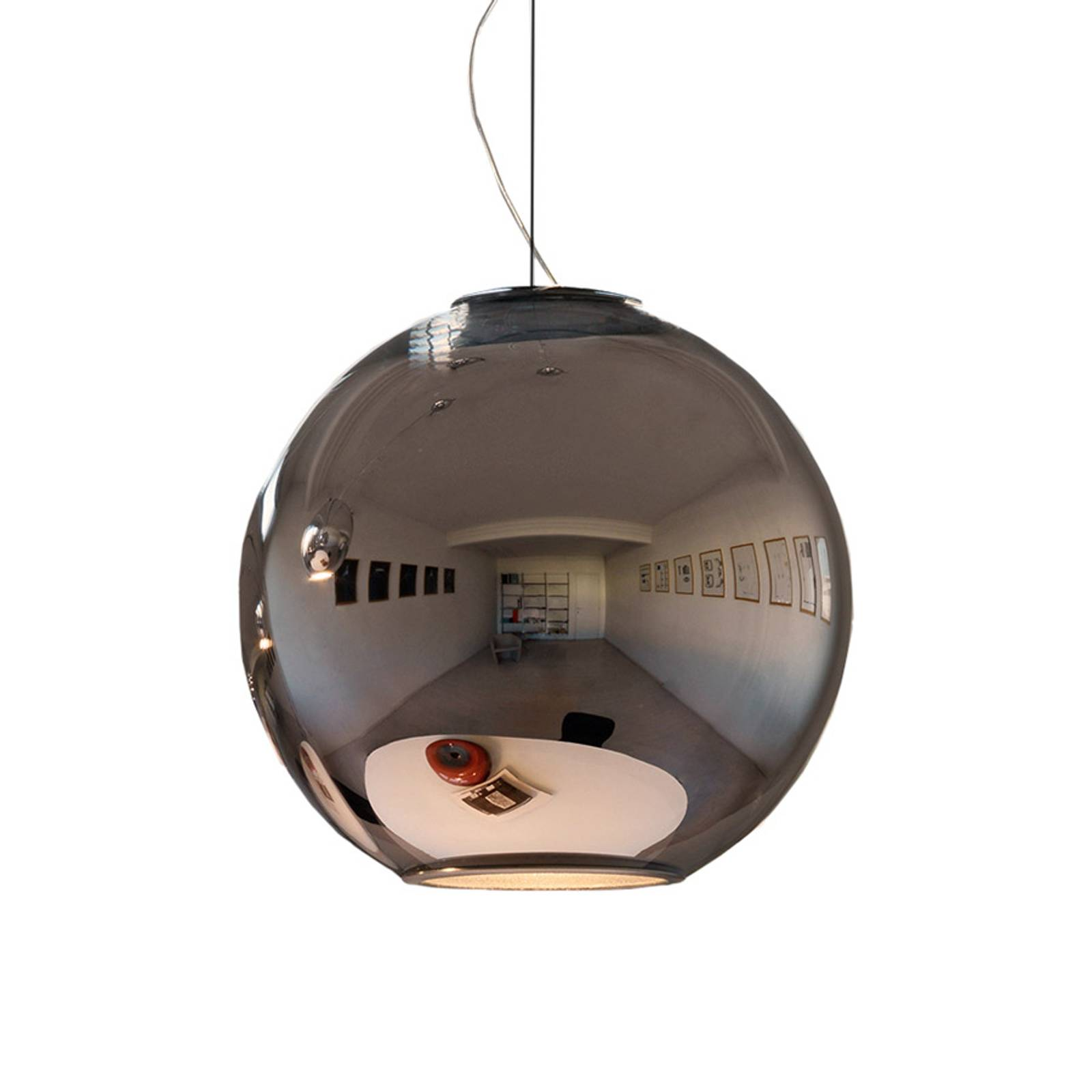 Spiegelende hanglamp GLOBO DI LUCE, diameter 30 cm