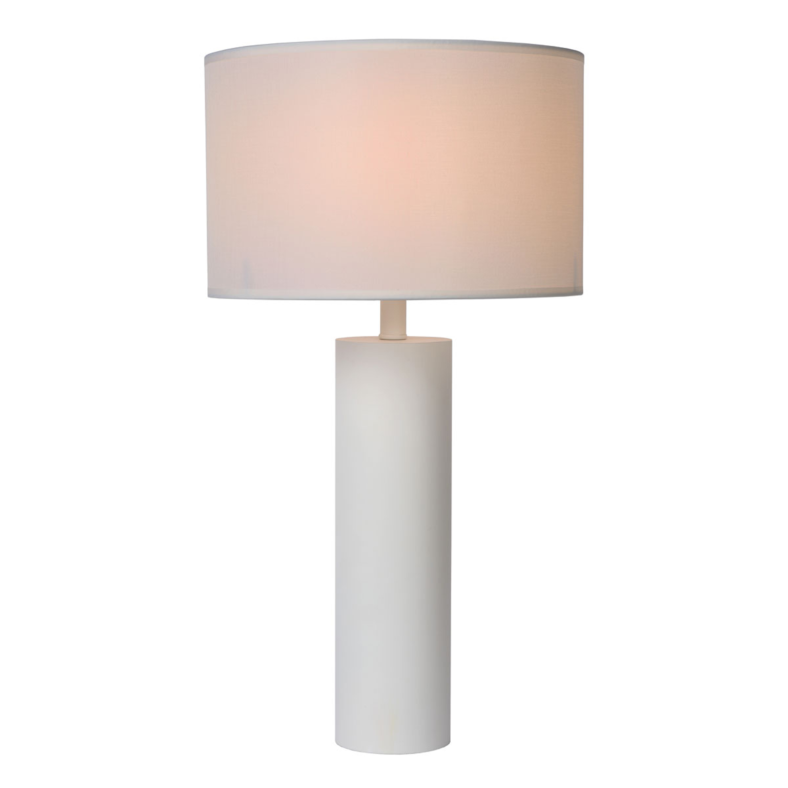 Lampe à poser Yessin, pied cylindrique, blanc