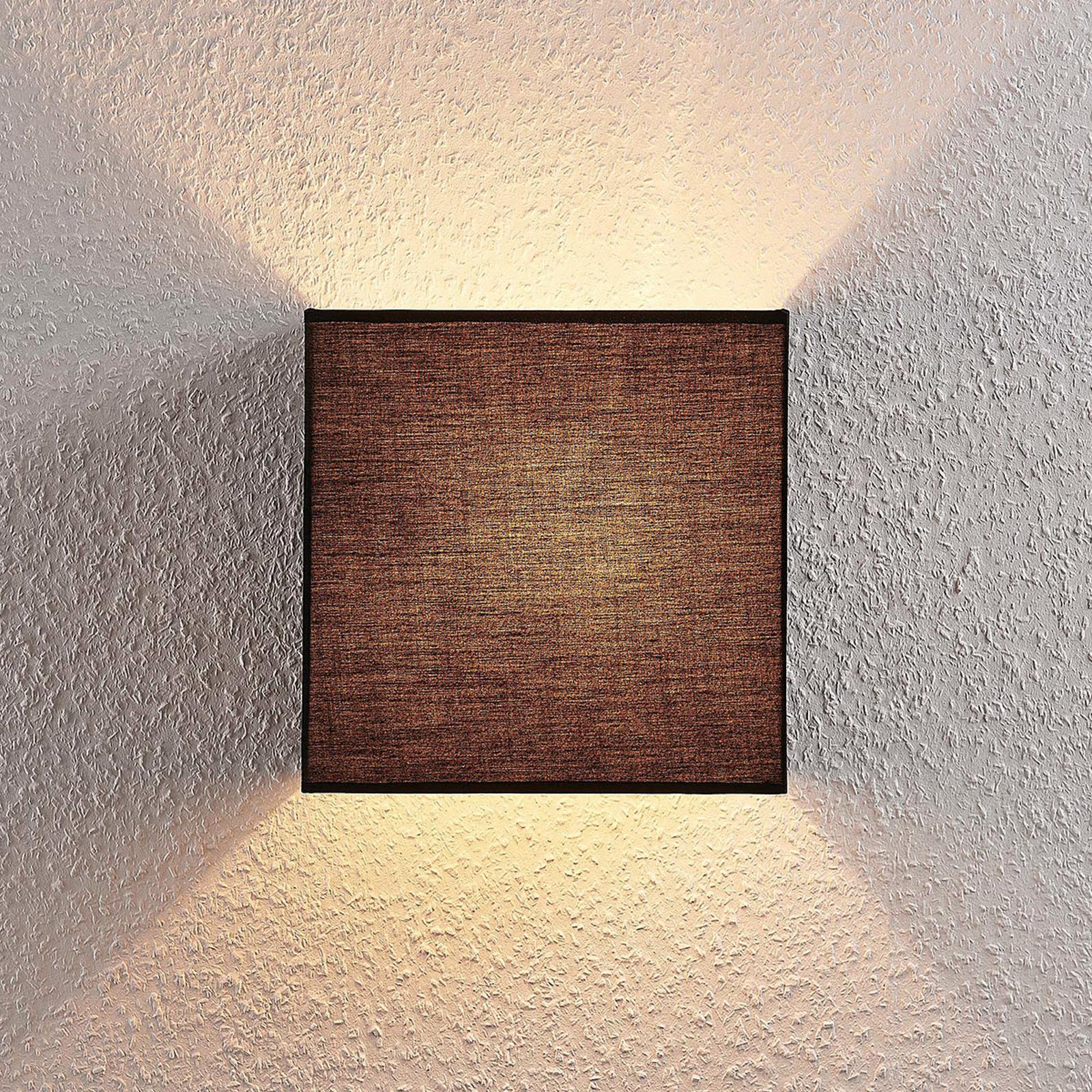 Stoff-Wandlampe Adea, 25 cm, quadratisch, schwarz