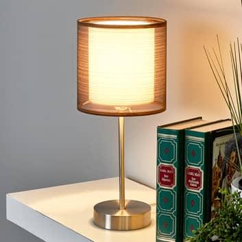 Lampka nocna Nica z brązowym materiałowym abażurem