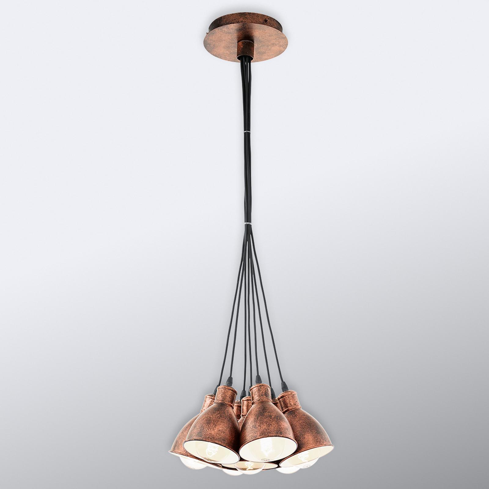 Priddy 1 vintagependellampa 7 lampor, koppar antik