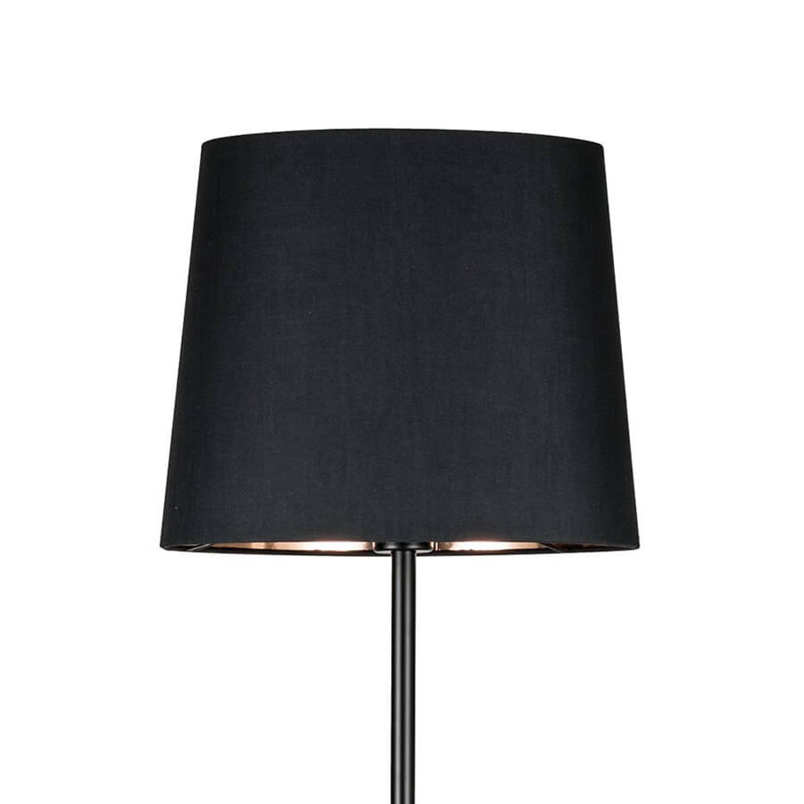 Zwarte textiele vloerlamp Enja met marmeren voet