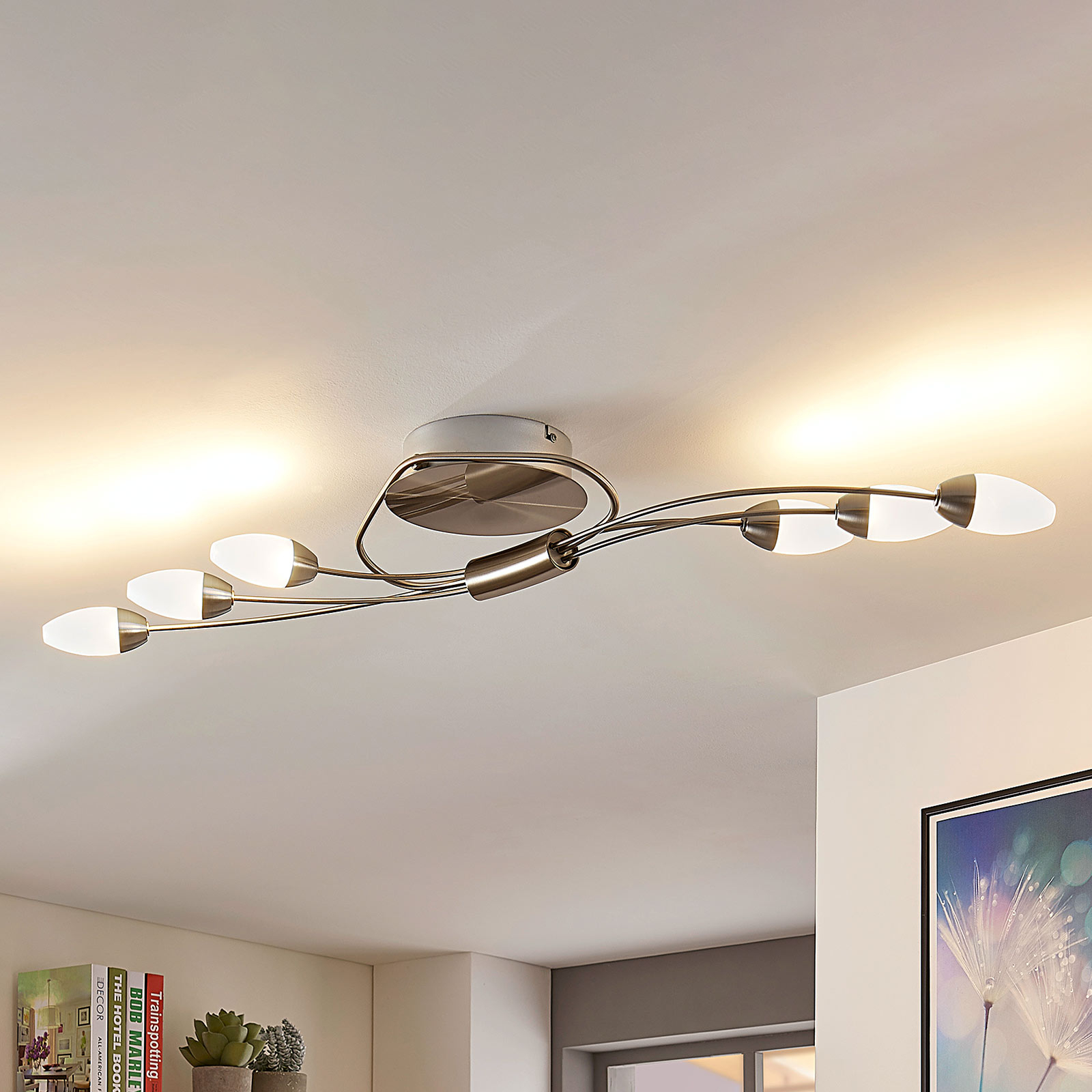 LED plafondlamp Deyan, 6 lampen, langwerpig