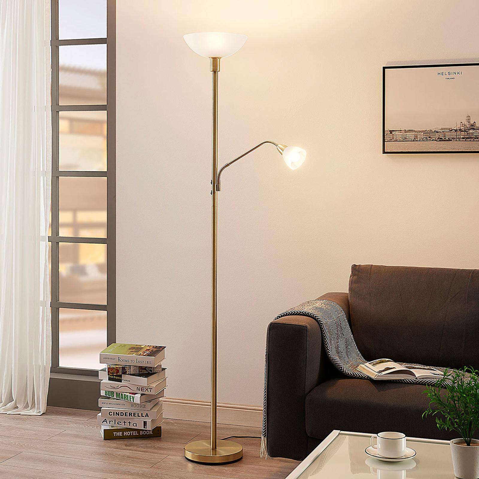LED-uplightgolvlampa Jost m läslampa, matt mässing