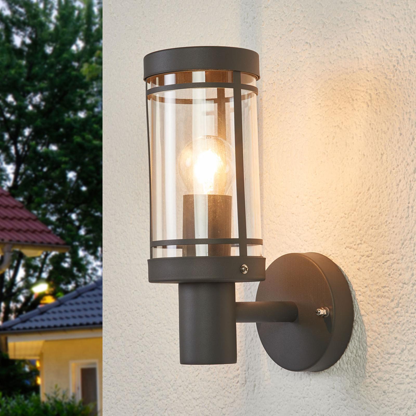 Aantrekkelijke buitenwandlamp Djori in donkergrijs