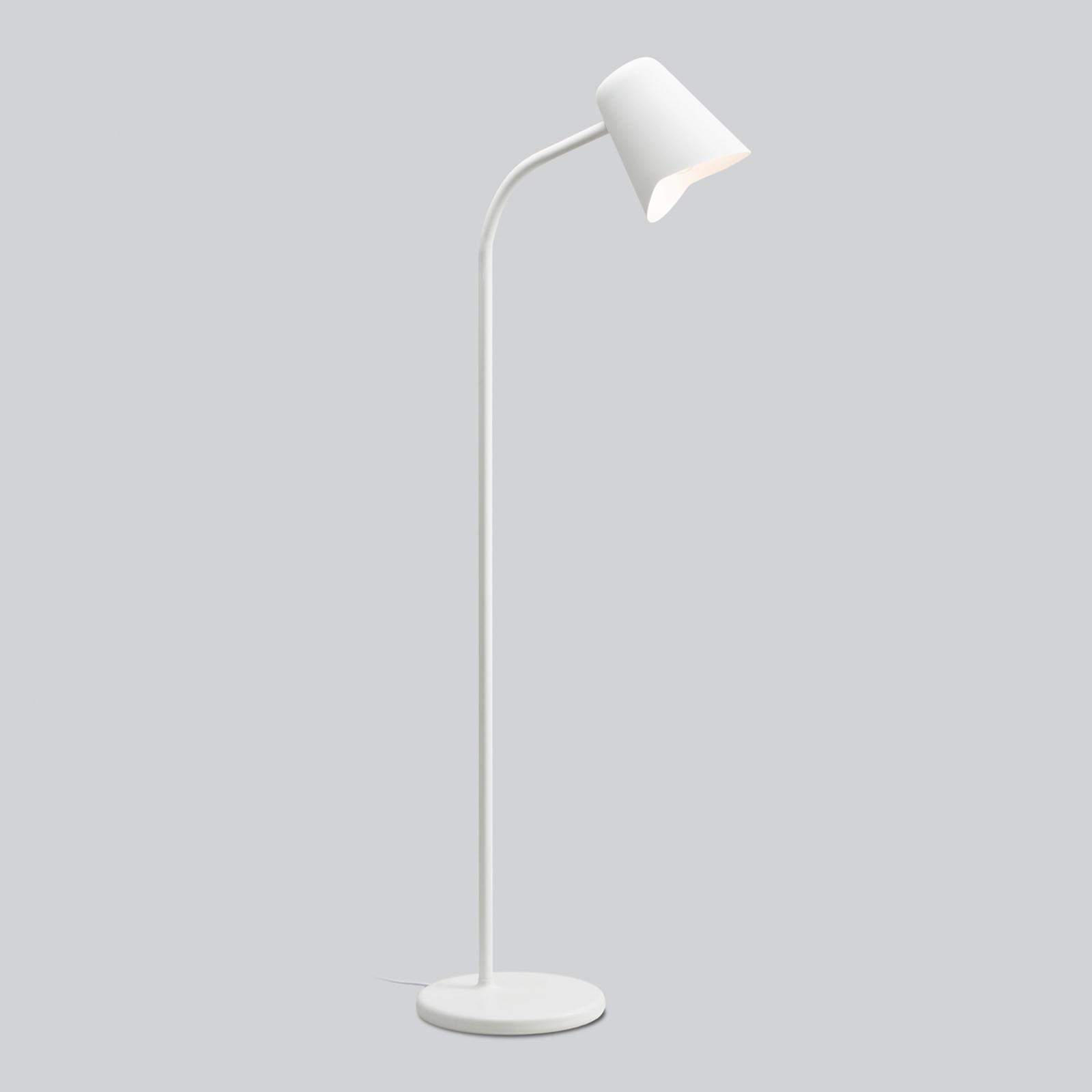 Wyginana lampa stojąca Me, biała
