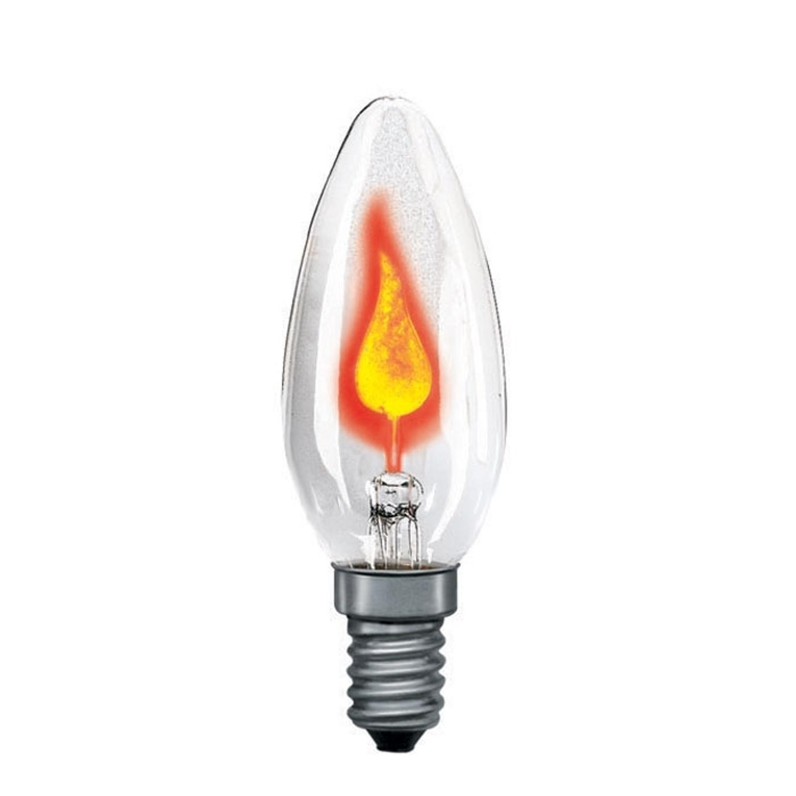 E14 3W stearinlyspære med flamme klar