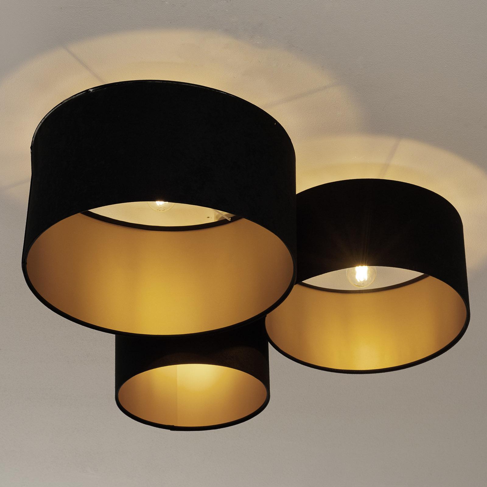 Loftlampe 080, 3 lyskilder, sort-guld