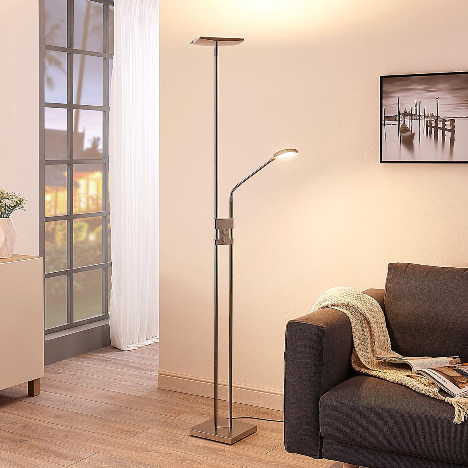 Kantig LED-uplight golvlampa Jonne, läsarm, dimbar