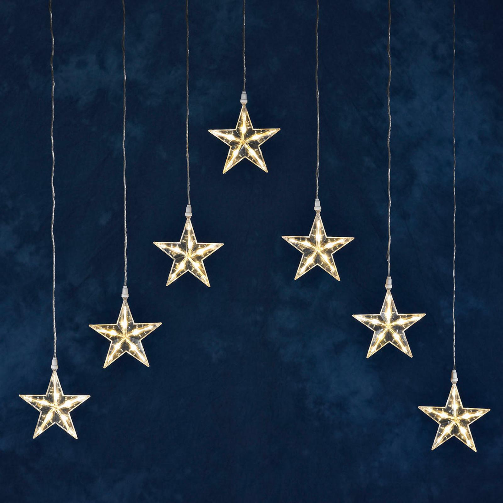 Lichtervorhang LED mit 7 Sternen, warmweiß
