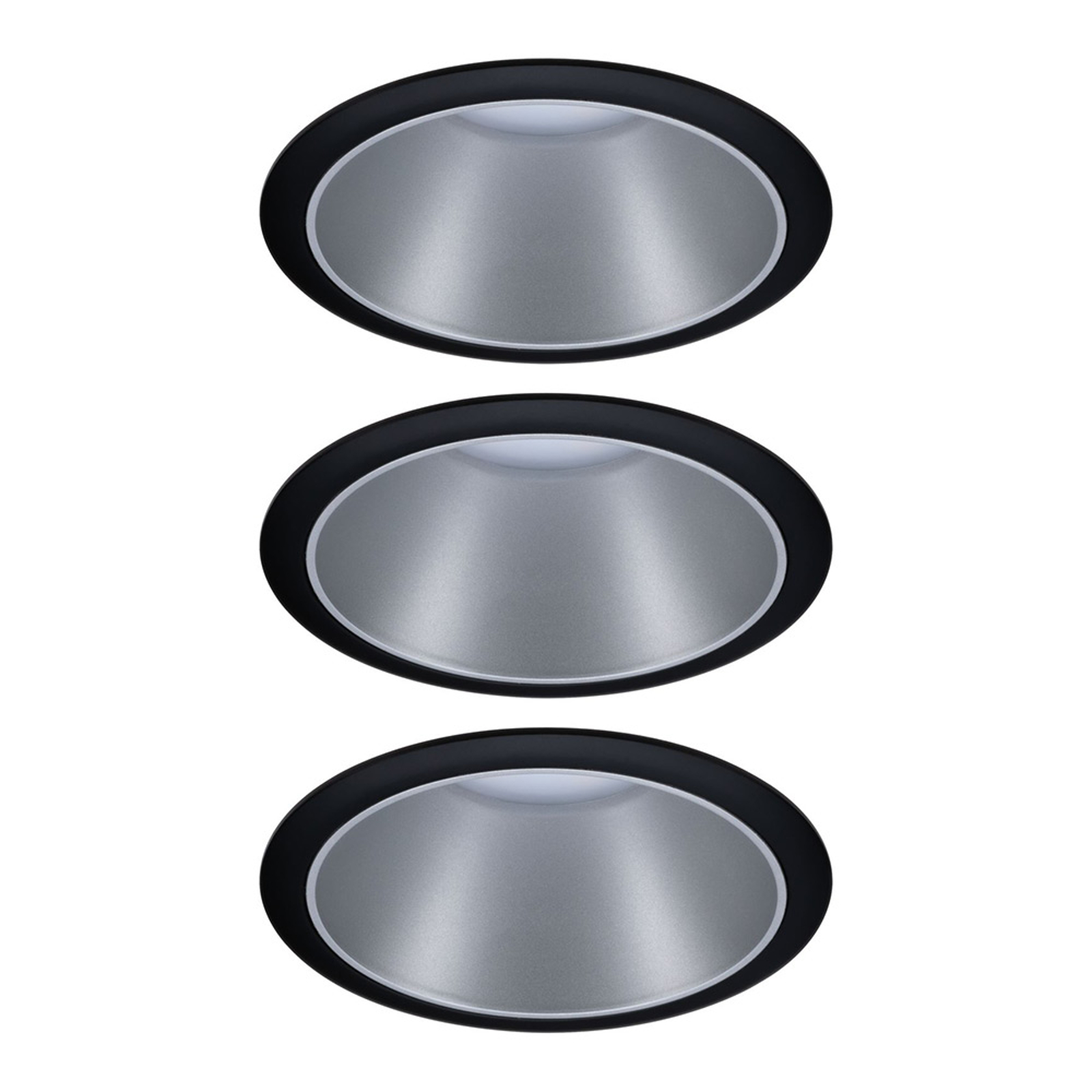Paulmann Cole spot LED, argenté-noir lot de 3